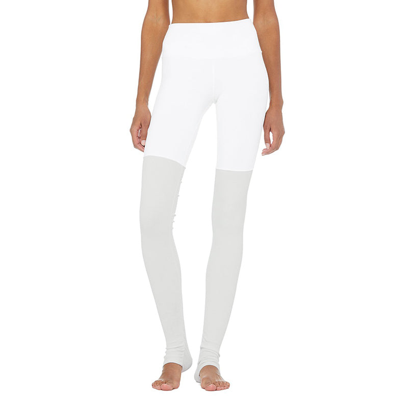 High-Waist Goddess Legging-White-Dove Grey Heather