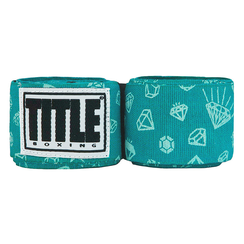 "Title Print Mexican Style 180"" Handwraps-Teal Diamonds"