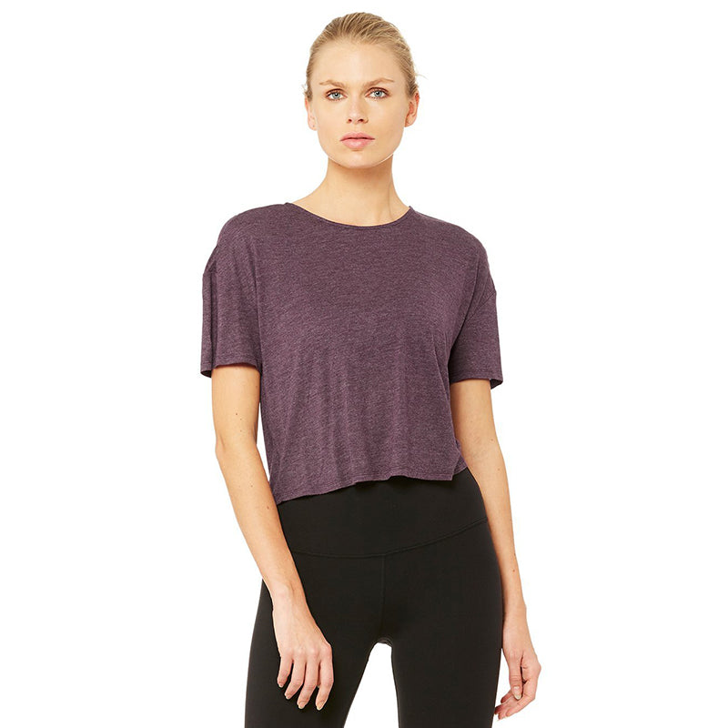 Entwine Short Sleeve Top-Eggplant Heather