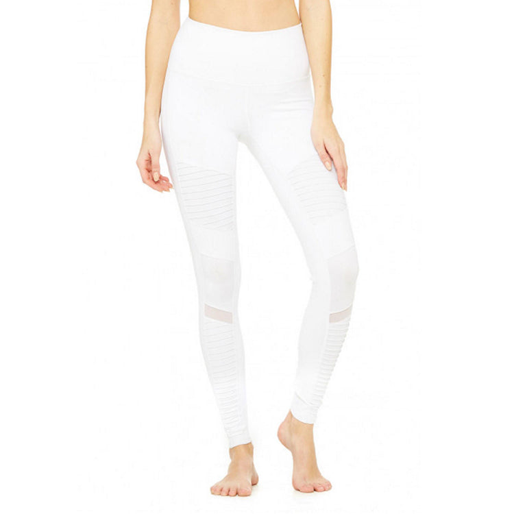 High-Waist Moto Legging-White-White Glossy