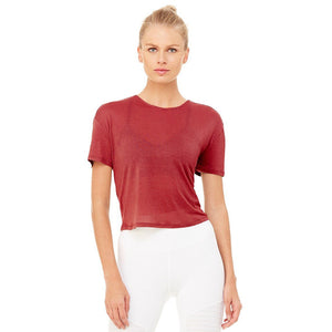 Entwine Short Sleeve Top-Red Velvet