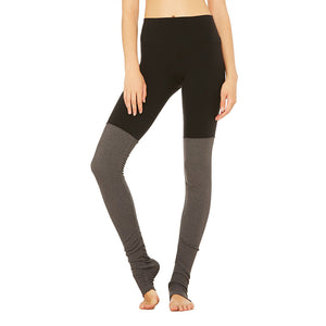 High-Waist Goddess Legging-Black Stormy Heather