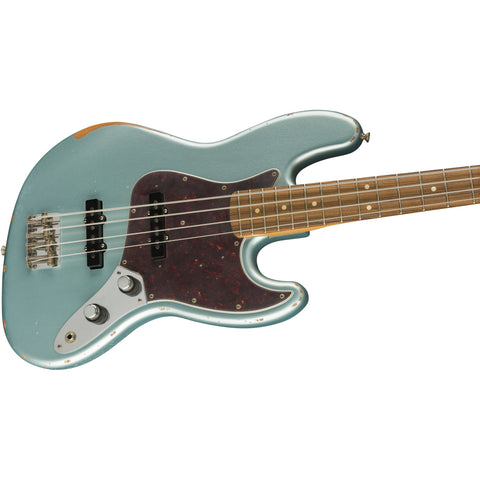 Fender 60th Anniversary Road Worn Jazz Bass, Pau Ferro Fingerboard - Firemist Silver - Music 440
