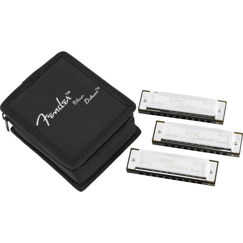 Image of Fender Blues Deluxe Harmonica, Pack of 3, w/Case - Music 440