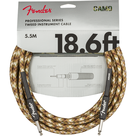 Fender Professional Series Instrument Cable, Camo - Various Sizes & Colours - Music 440