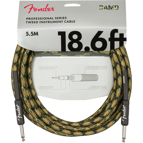 Image of Fender Professional Series Instrument Cable, Camo - Various Sizes & Colours - Music 440