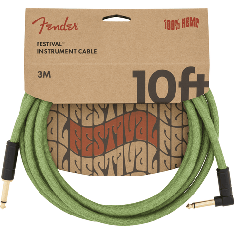 Image of Fender 10' Angled Festival Instrument Cable, Pure Hemp - Various Colours - Music 440