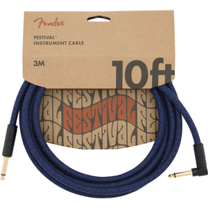 Fender 10' Angled Festival Instrument Cable, Pure Hemp - Various Colours - Music 440