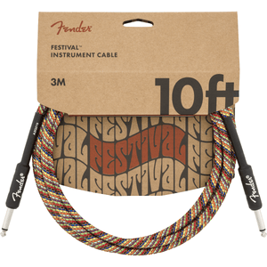 Fender 10' Festival Instrument Cable, Pure Hemp - Rainbow - Music 440