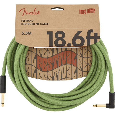Image of Fender 18.6' Angled Festival Instrument Cable, Pure Hemp - Various Colours - Music 440
