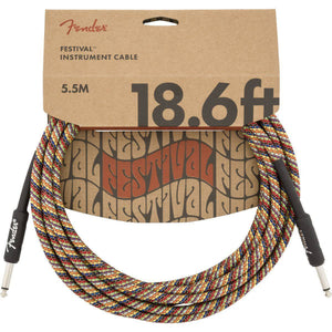 Fender 18.6' Angled Festival Instrument Cable, Pure Hemp - Various Colours - Music 440