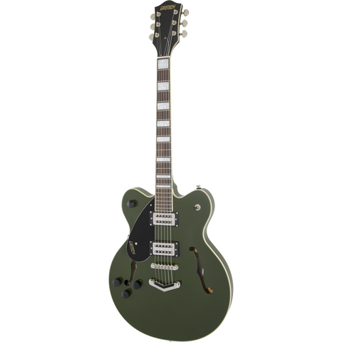Image of G2622LH Streamliner Center Block with V-Stoptail, Left-Handed, Laurel Fingerboard, Broad'Tron BT-2S Pickups, Torino Green - Music 440