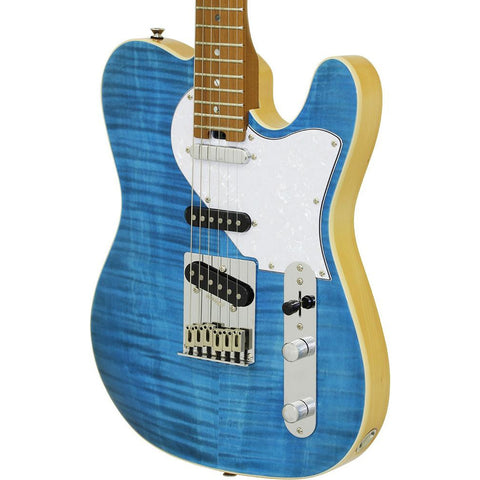 Image of Aria 615-MK2 Nashville Electric Guitar - Turquoise Blue Gloss Finish - Music 440