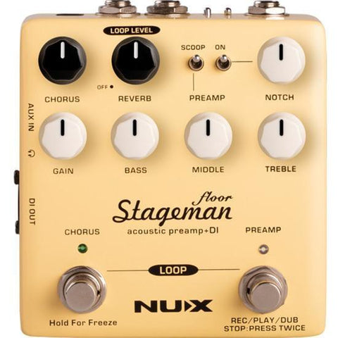 NU-X Verdugo Series Stageman Floor Acoustic Preamp & DI w/Digital Effects & Looper Function - Music 440