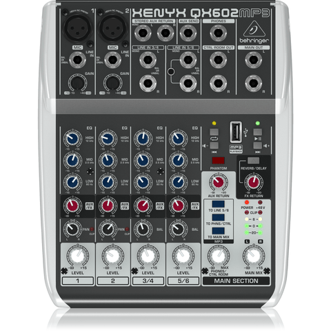 Image of Behringer Xenyx QX602MP3 Mixer with USB MP3 Playback - Music 440