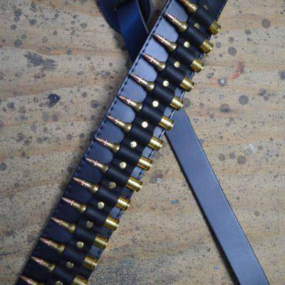 Image of Colonial Leather Brass Shells on Black Leather Guitar Strap - Music 440