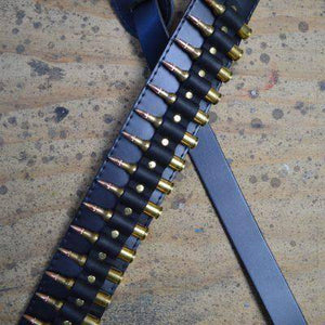 Colonial Leather Brass Shells on Black Leather Guitar Strap - Music 440