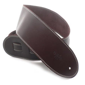 "DSL 3.5"" Leather Single Ply Saddle Brown-Beige Stitch Guitar Strap - Music 440"