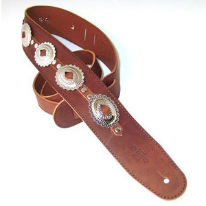 DSL Concho Flower Leather Strap Maroon - Music 440