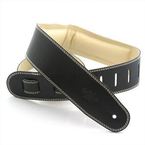"DSL Straps 2.5"" Padded Garment leather Black-Beige - Music 440"
