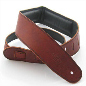 "DSL Straps 2.5"" Padded Garment Leather Maroon-Black - Music 440"