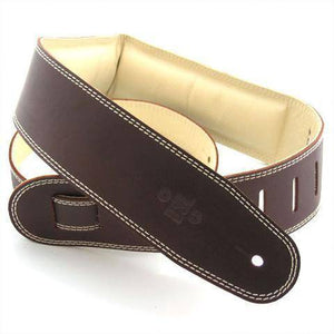 "DSL Straps 2.5"" Padded Garment Leather Saddle Brown-Beige - Music 440"