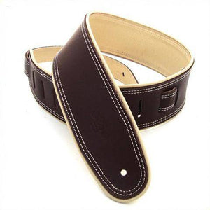 "DSL Straps 2.5"" Rolled Edge Saddle Brown-Beige Leather Guitar Strap - Music 440"