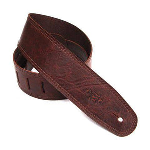 "DSL Straps Distressed Brown 2.5"" Leather Guitar Strap - Music 440"