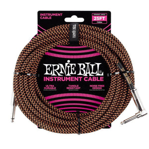 Ernie Ball 25' Braided Straight/Angled Instrument Cable - Various Colours - Music 440