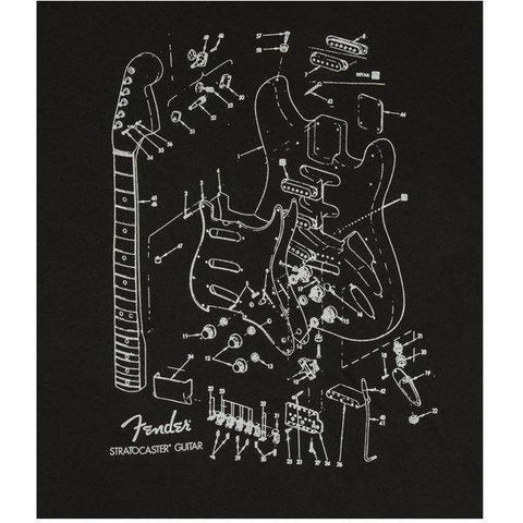 Image of Fender Stratocaster Patent Drawing T-Shirt, Black, XL - Music 440