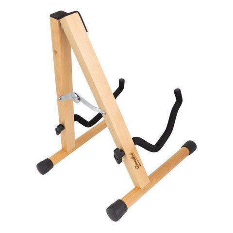 Image of Fretz 'Woodie 5' Wooden Folding A-Frame Stand for Acoustic and Electric Guitars - Music 440