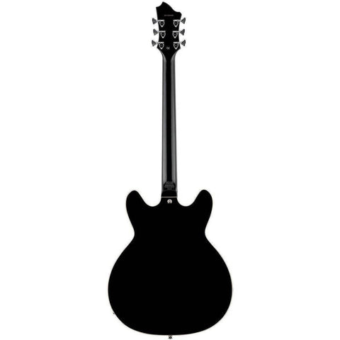 Hagstrom Viking Deluxe Baritone Semi-Hollow Guitar in Black Gloss - Thor's Hammer - Music 440