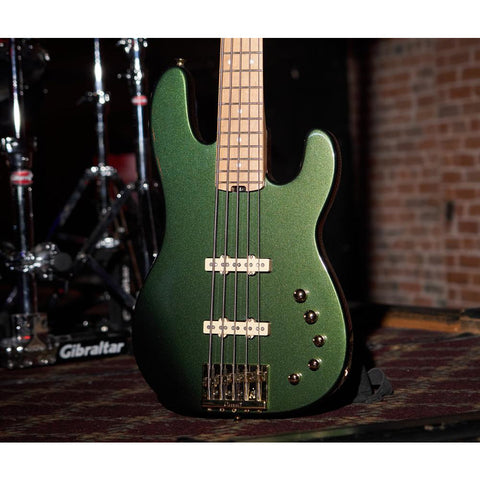 Charvel Pro-Mod San Dimas Bass JJ V, Caramelized Maple Fingerboard - Lambo Green Metallic - Music 440