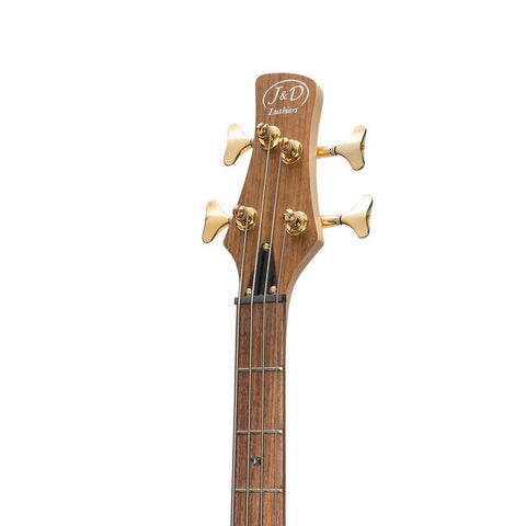 J&D Luthiers 21 Series 4-String Contemporary Active Electric Bass Guitar - Natural Satin