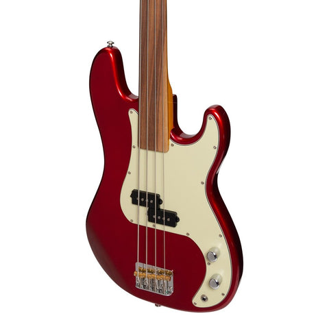 J&D Luthiers 4-String PB-Style Fretless Electric Bass - Crimson
