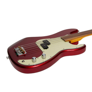 J&D Luthiers 4-String PB-Style Fretless Electric Bass - Crimson - Music 440