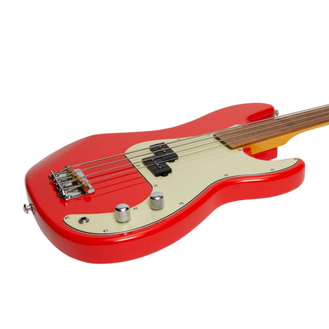 Image of J&D Luthiers 4-String PB-Style Fretless Electric Bass - Red - Music 440