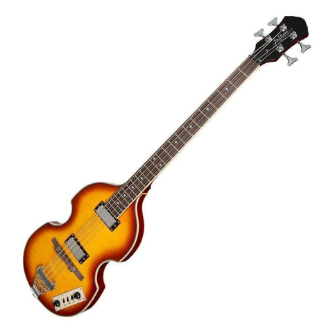 J&D Luthiers BB10 Violin Style 4-String Electric Bass Guitar (Honey Burst) - Music 440