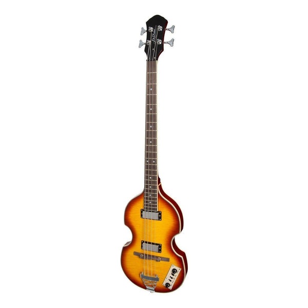 J&D Luthiers BB10 Violin Style 4-String Electric Bass Guitar (Honey Burst)