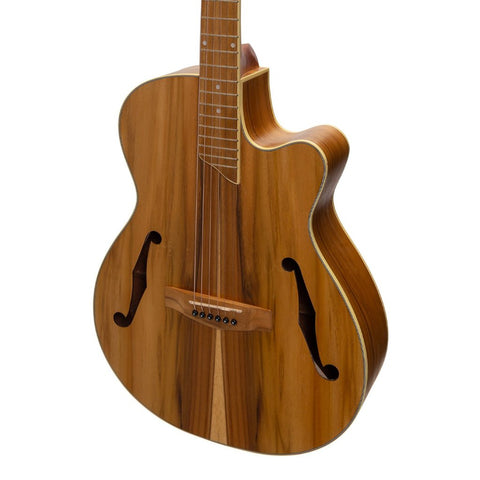 Image of Martinez Jazz Hybrid Acoustic-Electric Small-Body Cutaway Guitar - Jati-Teakood - Music 440