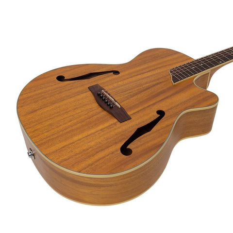 Image of Martinez Jazz Hybrid Acoustic/Electric Small Body Cutaway Guitar - Koa - Music 440