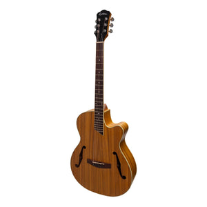 Martinez Jazz Hybrid Acoustic/Electric Small Body Cutaway Guitar - Koa - Music 440