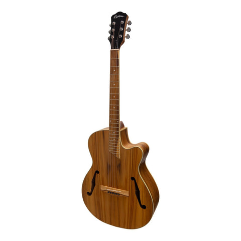 Martinez Jazz Hybrid Acoustic Small Body Cutaway Guitar - Jati/Teakwood