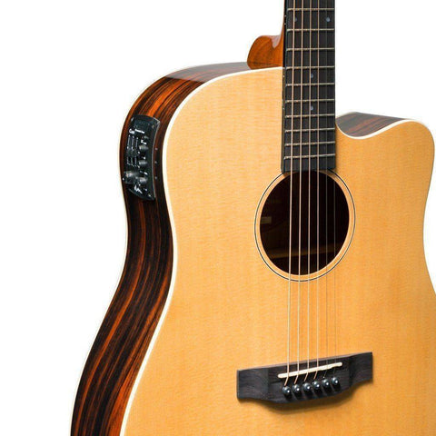 Martinez 'Southern Star' Series Spruce Solid Top Acoustic-Electric Dreadnought Cutaway Guitar (Natural Gloss) - Music 440