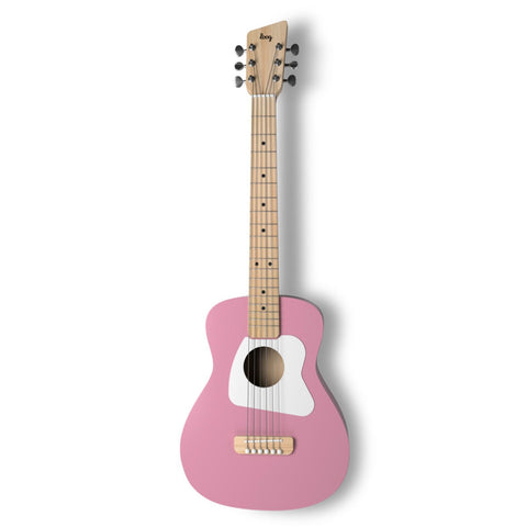 Loog Pro VI Acoustic Guitar w/ Chord Diagram Flash Cards - Pink