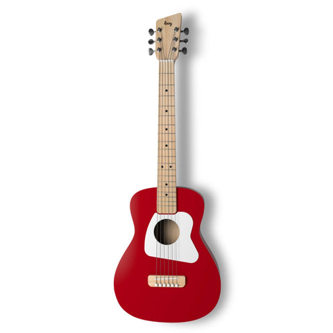 Loog Pro VI Acoustic Guitar w/ Chord Diagram Flash Cards - Red