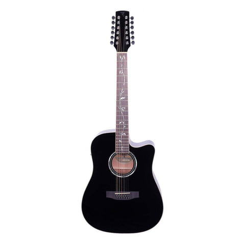 Image of Timberidge '1 Series' 12-String Solid Spruce Top Acoustic-Electric Dreadnought Guitar - Black Gloss - Music 440