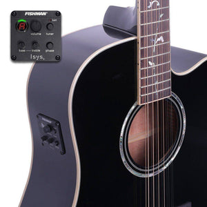 Timberidge '1 Series' 12-String Solid Spruce Top Acoustic-Electric Dreadnought Guitar - Black Gloss - Music 440