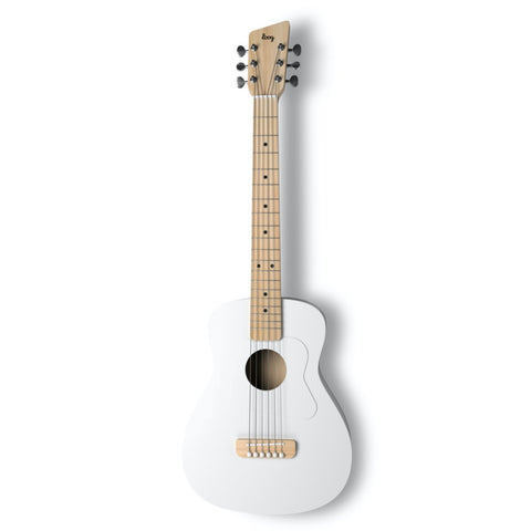 Loog Pro VI Acoustic Guitar w/ Chord Diagram Flash Cards - White
