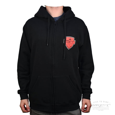 Grit Shield Logo Hoody - Black / Red
